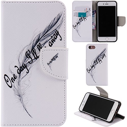 Ooboom® iPhone 8 Plus/iPhone 7 Plus Coque PU Cuir Flip Housse Étui Cover Case Wallet Portefeuille Fonction Support avec Porte-cartes pour iPhone 8 Plus/iPhone 7 Plus - Don't Touch My iPhone Plume