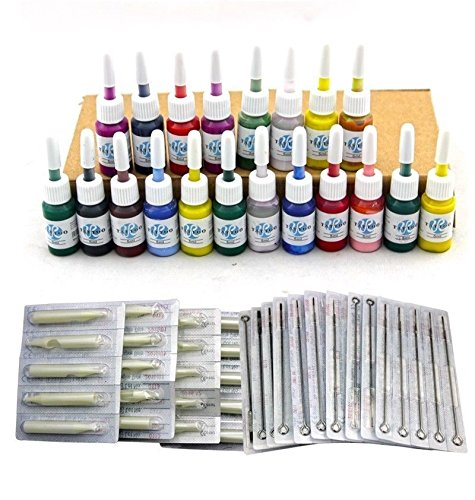 51tIM58iE8L - Tattoo equipos del Tatuaje Completo 2 Maquina de Tatuaje, Hansemay Profesional del tatuaje completo kit 2 ametralladoras de 20 colores/tinta tintas tatuaje de la aguja de la máquina Set (JM16)