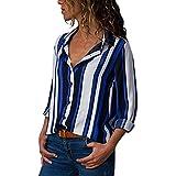 semen Damen Blusen V-Ausschnitt Shirt Casual Langarm Oberteile Locker Langarmshirts mit Knopfleiste