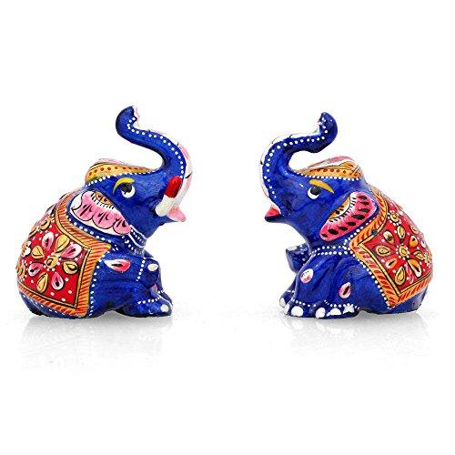 CraftVatika Metal pintado par figura de elefante Lucky Trunk Up elefante Animal...