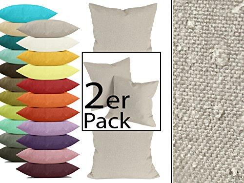 Doppelpack zum Sparpreis - Kissenhülle Milano - moderne Wohndekoration in dezentem Design erhältlich in 23 modernen Unifarben und 2 verschiedenen Größen, taupe, 50 x 50 cm