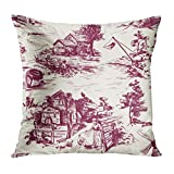 vbndfghjd Throw Pillow Cover Classic with Old Town Village Scenes of Fishing and...
