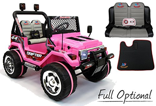 Mondial toys auto elettrica 12v drifter 2 posti per bambini con telecomando 2.4g soft start full optional pink