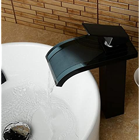 SUN-Nero vetro temperato cascata beccuccio bagno rubinetto lavabo bronzo lucidato