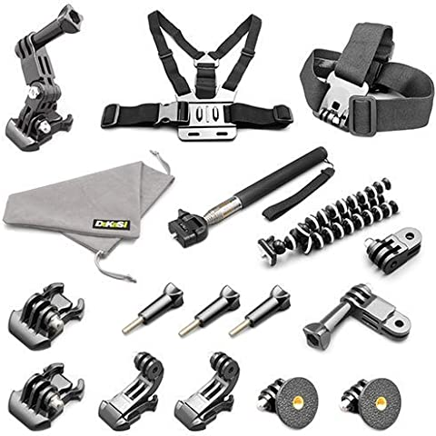 DeKaSi Accesorios Originales para Gopro HERO 5/4/3 Black Silver Session (18-IN-1)