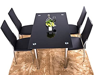 BTM Luxury Black Glass Dining Table (Without Chairs) - cheap UK dining table store.