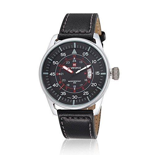 NaviForce Multifunktions Fashion Herrenuhr Herrenmode Quarz-Uhrwerk Bewegungsuhr mit Lederband Lederarmband Wasserdicht Wei? Geh?use