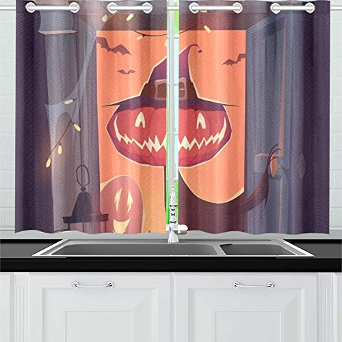 JIUCHUAN Happy Halloween-Karte Poster Küche Vorhänge Fenster Vorhangebenen für Café, Bad, Wäscherei, Wohnzimmer Schlafzimmer 26 X 39 Zoll 2 Stück