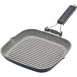 Kitchencraft Masterclass Anti-adhésif Induction Poêle Grill avec poignée Pliable, 20cm (20,3cm)-Noir, Aluminium, Noir, 20 cm