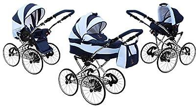 Kinderwagen AmberLine Classica Retro_PINK, 3 in 1- Set Wanne Buggy Babyschale