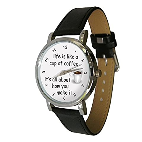 La vie est comme une tasse de café Design montre avec une sangle en cuir véritable