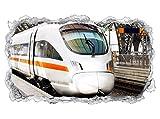 3D Wandtattoo Zug ICE Eisenbahn Fahrzeug Wand Aufkleber Durchbruch Stein selbstklebend Wandbild Wandsticker 11N824, Wandbild Größe F:ca. 140cmx82cm