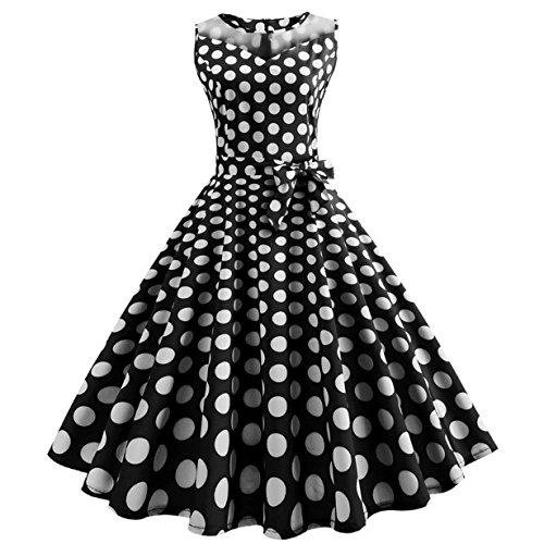 , Loveso ❤️ Damen Vintage Polka Dots A-linie Ohne Arm Rockabilly Kleid Cocktailkleider Swing Kleider 1950er Retro Sommerkleid (Schwarz(Mit Mesh)❤️, S) (Herren 50er Jahre Kleidung)