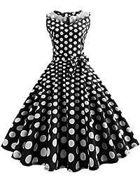 50er Vintage Kleider, Loveso ❤ Damen Vintage Polka Dots A-linie Ohne Arm  Rockabilly Kleid Cocktailkleider Swing… 26dd39b6d4