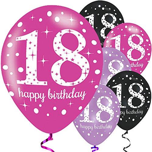 Amscan 9900874 Latex-Ballons zum 18. Geburtstag, farblich sortiert, 27,5cm