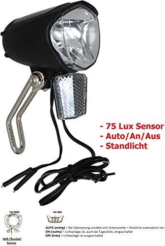 Led-fahrrad-scheinwerfer (P4B 75 Lux LED Scheinwerfer + Standlicht + Sensor + Schalter für Nabendynamo StVZO zugelassen)