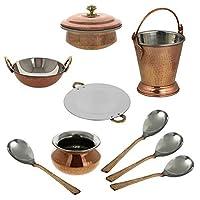 ShalinIndia Indian Centerpiece Copper Tableware Tava Karahi Handi Donga Balti Spoons Set Brown