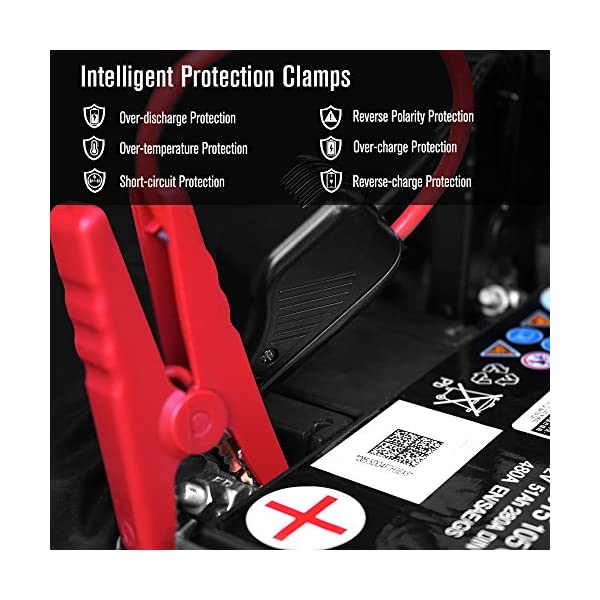 Pasacorriente portátil de DBPOWER, 300 A, 8000 mAh, con linterna de LED, para motores de gasolina de hasta 2,5 l