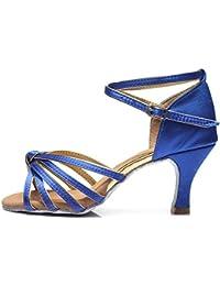 5be985bab3 HROYL Mujer Zapatos de Baile Latino/Moderno/Samba/Chacha para Mujer Satin  Zapatos