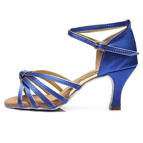 SWDZM Donna Scarpe da Ballo/Scarpe da Ballo Latino Standard Raso Ballroom Model-D217 7CM Blue