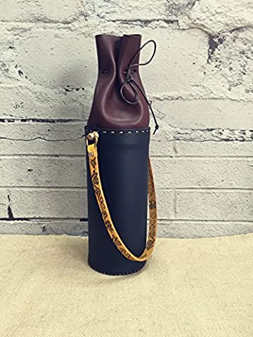 Handmade Real Leather Wine Bottle Holder Broze Buckle Wine Carrier Luxury Liquor Tote with Broze Buckle Tableware Wine Accessory Home Decorations Wine Set Flowers Tube Matching 750ml Standard Wine Bottle Customization Text Entry