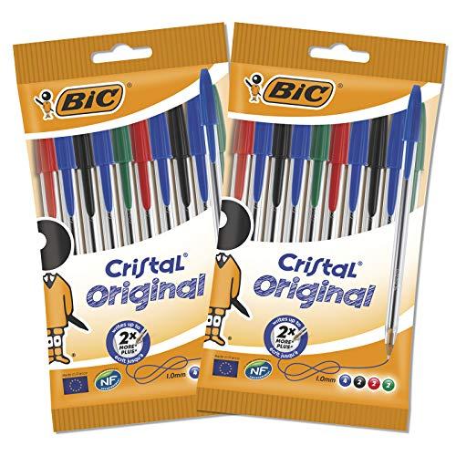 Bic Cristal Original Penna a Sfera, Multicolore, Confezione da 2x10 Penne