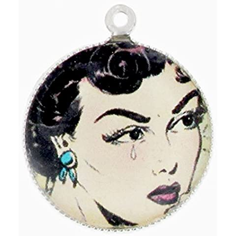 Charm di resina 18 mm Pin-up Bruna x1 - Resina Charm