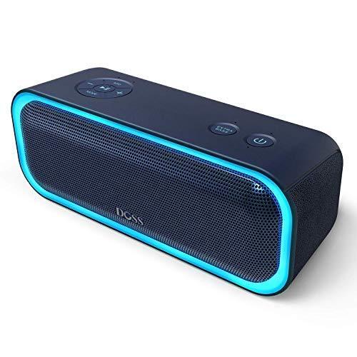 DOSS SoundBox Pro Bluetooth 4.2 Lautsprecher 20W Lautsprecherbox mit Dual-Treiber Besserem Bass Stereo Pairing Vielfarbige LED-Lichter 12 St Spieldauer für iPad Echo Dot und andere Geräte 【Blau】
