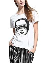 Mena UK Mujeres del Verano de la Blusa de Ocasional Manga Corta Crew Neck de Tops T shirt 7 Color ( Color : 8803-12 , Tamaño : M )