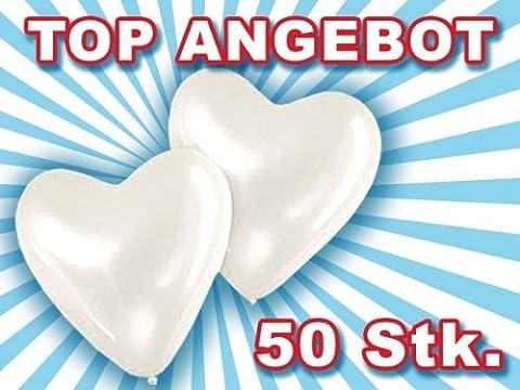 Lot de 50 ballon de baudruche en forme de coeur blanc blanche La décoration incontournable pour toute fête d'anniversaire de mariage ou soirée de Saint Valentin - 50 ° Anniversario Set
