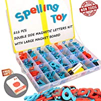 Magnetic Alphabet Letters, 212Pcs A-Z Foam Magnetic Letters and Symbols with large Dry Erase Double-Side Magnetic Board, Educational Alphabet Refrigerator Magnets for Preschool Learning, Spelling