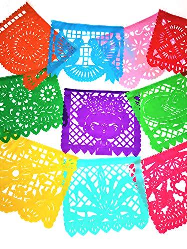Muunek Picado-Banner Mexiko Querido, groß, Kunststoff, 10 Panel, 4,6 m Mexikanisches Fiesta Party Dekoration