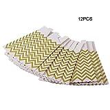 Triamisue 12pcs / Lot Hochzeitstag-Jahrestag liefert spezielle Paket-Huhn-Popcorn-Papierkasten-goldene Streifen