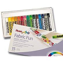 PENTEL Estuche de 15 Ceras de Pastel para Textil Ropa Diseño Dibujo y Arte 7113