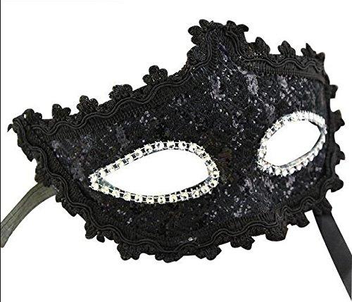 Foxnovo Squisito stile veneziano pizzo strass di cristallo Cosplay di maschera per Halloween MasqueradeCostume Party (nero)