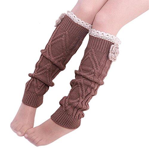 Frauen Spitze Trim kniehohe Gamaschen Strümpfe Winter Warme Gestrickte Lange Boot Socken Mit Blume Weiche Kniestrümpfe,Braun