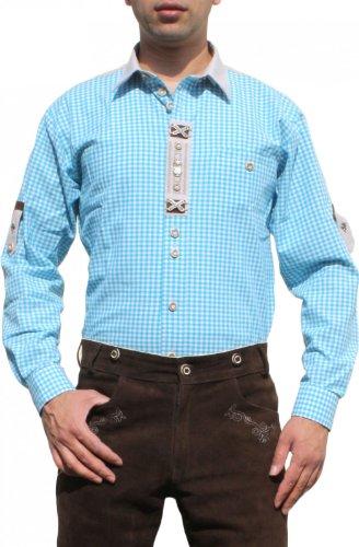 Trachtenhemd für Lederhosen mit Verzierung türkis/kariert, Hemdgröße:2XL