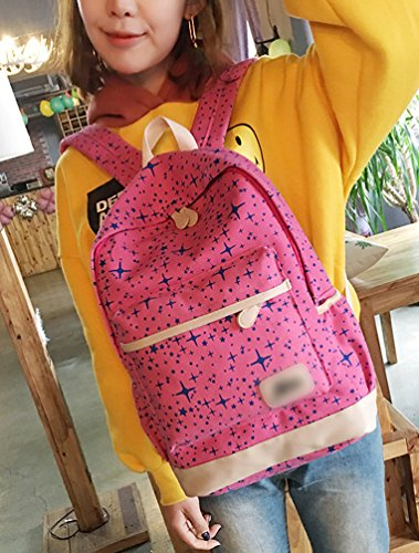 Sentao Retro Schulrucksack Canvas Mädchen/Damen Schul Rucksack Set Schulranzen + Schultertasche / Messenger Bag + Purse Große 3PCS Rose
