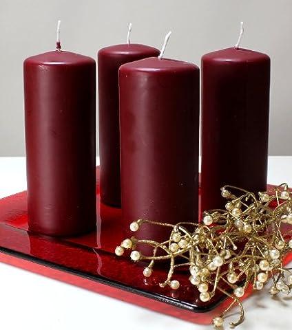 Kerzen Safe Candle Markenkerzen Adventskerzen Stumpenkerzen 150/60 mm dunkelrot weinrot rot, 12 Stk.