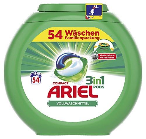 Ariel 3in1 Pods Vollwaschmittel, 1er Pack (1 x 54 Waschladungen)