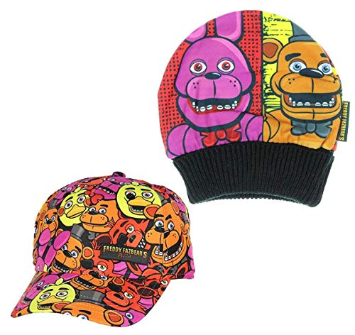 Five Nights at Freddy's Cast Beanie and Snapback Hat Bundle