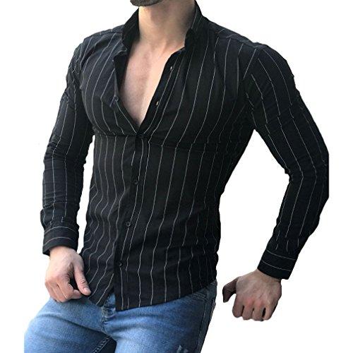 Manica lunga camicia a righe per uomo autunno primavera camicie casual con turn-down colletto moda slim fit camicia shirts tops con pulsante