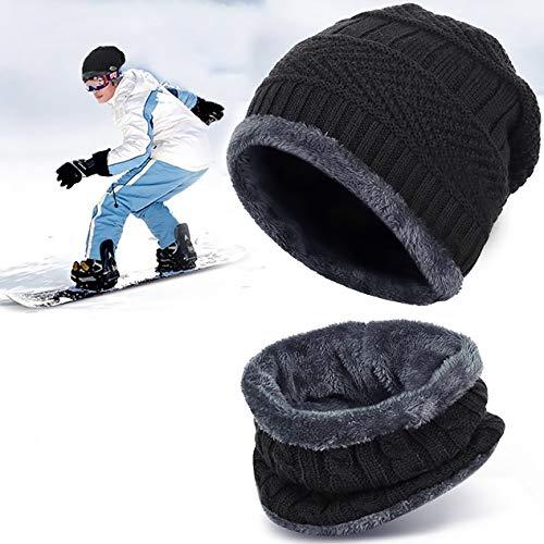 Bonnet Hiver Chapeau Beanie Écharpe Tour de Cou Doublure Polaire Tricot pour Homme Femme Unisexe Chaude Simple No