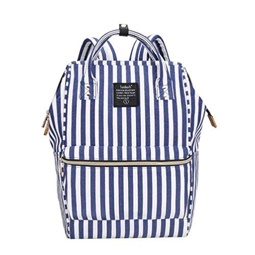 CHENGYANG Rucksäcke Mädchen Streifen Handtasche Rucksack Schultasche Reisetasche Outdoor Freizeit für Universität Streifen Sapphire