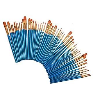 Duzhixi 50 Stücke Künstler Pinsel Runde Spitze Spitze Nylonhaar Künstler Acryl Pinsel für Malerei Leinwand, Keramik, für Kinder, Amateure
