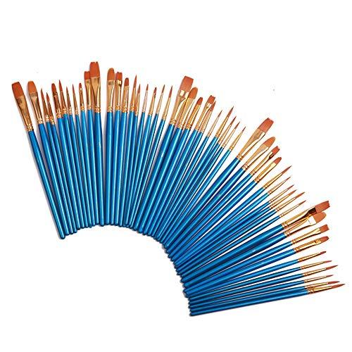 Duzhixi 50 Stücke Künstler Pinsel Runde Spitze Spitze Nylonhaar Künstler Acryl Pinsel für Malerei Leinwand, Keramik, für Kinder, Amateure - Malen Künstler Tools