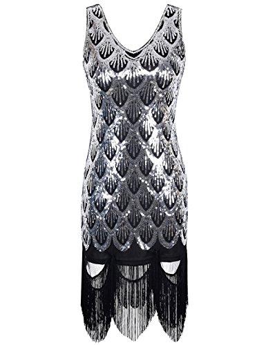 PrettyGuide Femmes 20s Great Gatsby Sequin Fishscale Agrémentée Fringe Flapper Dress Argent