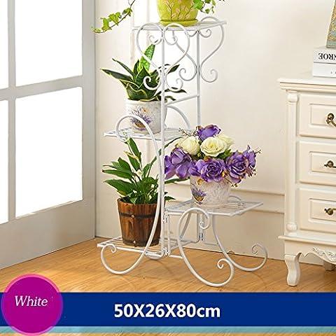 Cadre en fleur de fer Cadre de châssis de style de plancher Salon de salon intérieur et extérieur Balcon Rack de fleurs 4 couches (50 * 26 * 80cm) ( Couleur : Blanc )