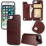 Long Love Apple Iphonex Mobile Shell 7/8Plus Crazy Horse Sticker Protective Case S9 Magnetic Buckle Multifunction Mobile Phone Case (7plus/8plus, Braun)