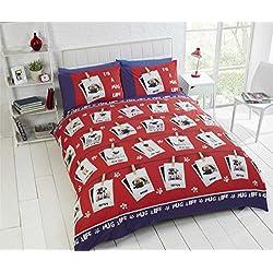 Pug Dog, estilo, funda de edredón y funda de almohada juego de ropa de cama, diseño de animales